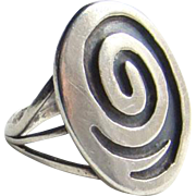 Southwestern Tribal Ring Sterling Silver Overlay Size 5.5 Handmade Modernist