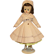 Vogue Jill Doll in Beige Felt Coat Primrose Yellow Cotton Dress C1958