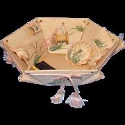 Vintage Pink Silk Sewing Basket Handpainted Flowers with Original Needlework Tools Wonderful