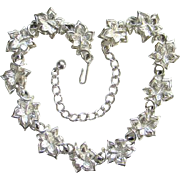 Coro Choker Necklace Silvertone Leaf Design Vintage Signed