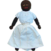 Black Stockinette Cloth Rag Doll C1920-1930s Embroidered Features White Dress 22 Inch