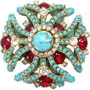 Turquoise Ruby Red Rhinestone Tiered Brooch Pin Quality Gorgeous Vintage Unsigned