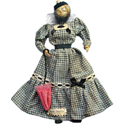 C1950s Aunt Poodie Ozark Doll Hickory Nut Head Wood Body Original Clothing 8.5in