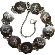 Siam Sterling Bracelet Three Elephants Dancing Goddesses Black Niello Enamel Hexagon Links ...