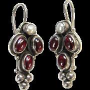 Old Victorian Sterling Silver Garnet Pearl Pierced Earrings Hallmarked 925 Antique Jewelry