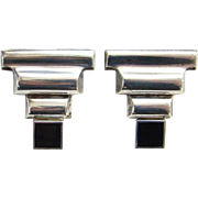 Vintage 925 Sterling Silver Black Onyx Pierced Earrings Modernist Abstract Art Deco Style