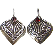 Old Sterling Silver Garnet Color Stone Pierced Earrings India Ethnic Jewelry Boho Bohemian Chi
