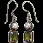 Sterling Silver Pearl Faceted Green Peridot Pierced Hook Dangle Earrings