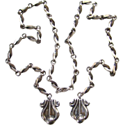 Reveriano and Maria Castillo Taxco Mexico Sterling Silver Lariat Necklace 38 Mexican Jewelry .