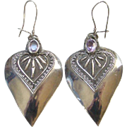 Old Sterling Silver Pierced Heart Shape Earrings Amethyst Stone India Ethnic Jewelry
