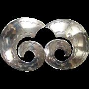 Navajo Sterling Silver Pierced Earrings Stamp Decorated Large Swirl Shape Signed J N