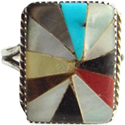 Southwestern Zuni Style Ring Turquoise Sterling Silver Coral Onyx MOP Inlay Indian Jewelry