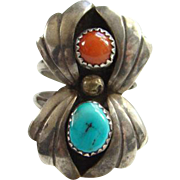 Navajo Style Coral Turquoise Shadowbox Sterling Silver Ring Size 9.25 Southwestern Indian Jewe