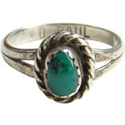 Navajo Delores Paul Turquoise Sterling Silver Ring Signed Size 5.75 Native American Indian Jew