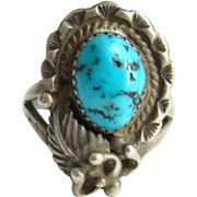 Navajo Style Sterling Silver Turquoise Ring Size 6.75 Dark Matrix Indian Jewelry
