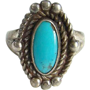 Bell Trading Post Navajo Turquoise Ring Size 5.5 Sterling Silver Signed Native American Indian