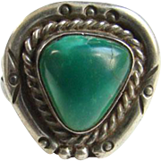 Green Turquoise Southwestern Ring Sterling Silver Size 7 to 7.5 Native American Indian Jewelry