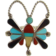 Zuni Style Turquoise Butterfly Ring Size 6.5 Sterling Silver Coral Onyx MOP Indian Jewelry