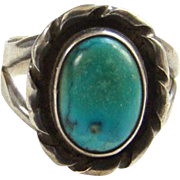 Southwestern Turquoise Ring Size 9.75 to 10 Sterling Silver Native American Indian Jewelry