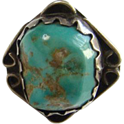 Navajo Turquoise Nugget Ring Sterling Silver Size 6.5 Signed HA Native American Indian Jewelry