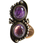 Southwestern Style Amethyst Ring Size 6 Sterling Silver Two Stones Marked 925