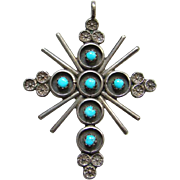 Navajo Style Turquoise Snake Eye Cross Necklace Pendant Southwestern Tribal Jewelry Native ...