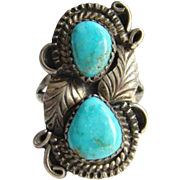 Navajo G Reeves Turquoise Ring Size 7.5 Sterling Silver Signed Native American Indian Jewelry