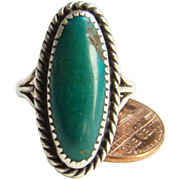 Southwestern Tribal Long Oval Green Turquoise Ring Sterling Silver Size 8.25 Indian Jewelry