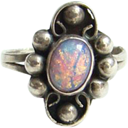 Mexico 925 Sterling Silver Foiled Opal Glass Ring Size 7.25 Vintage Eagle Mark 2 ...