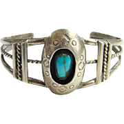 Turquoise Shadowbox Cuff Bracelet Navajo Zuni Style Sterling Silver Stamp Decorated Indian Jew