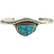 Turquoise Nugget Cuff Bracelet Sterling Silver Stamp Decorated Southwestern Indian Jewelry