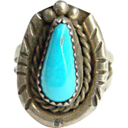 Navajo Style Turquoise Sterling Silver Ring Size 6 Indian Jewelry Native American