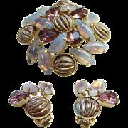 Amethyst Rhinestones Enamel Opalene Vintage Brooch Clip Earrings Demi Parure Set Vintage Costu