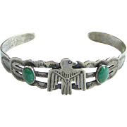 Turquoise Thunderbird Cuff Bracelet Silver Products Coin Silver 900 Native American Indian Sty