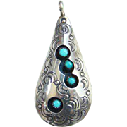 Turquoise Shadowbox Necklace Pendant Navajo Style Signed VAL Snake Eye Sterling Silver Stamp .