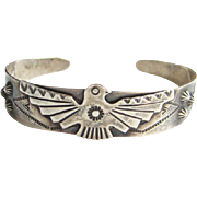 Bell Trading Post Navajo Thunderbird Cuff Bracelet Sterling Silver Native American Indian Jewe