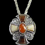 Scottish Celtic Cross Pendant Necklace Faux Agate Glass Stones Scotland Vintage