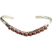 Zuni Style Coral Row Cuff Stacking Bracelet Sterling Silver Snake Eye Native American Indian J