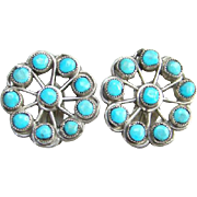 Vintage Turquoise Sterling Silver Satellite Clip Earrings Zuni Style Indian Jewelry