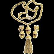 Vintage Crown Trifari 1970s Gold Tone Tassel Pendant Necklace Clip Earrings Set Topaz Accent .