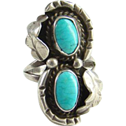 Navajo Turquoise Ring Two Stones Sterling Silver Size 7.5 Native American Indian Jewelry