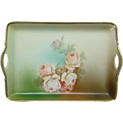 Antique Bavaria Porcelain Dresser Pin Tray Roses LDB Co Prince Regent China Germany