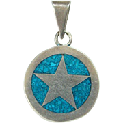 Mexico Mexican HMP Turquoise Mosaic Star Necklace Pendant Sterling Silver Old