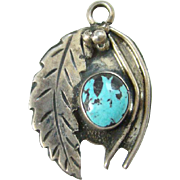 Vintage Navajo Style Turquoise Necklace Pendant Sterling Silver Feather Handmade