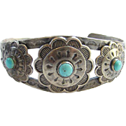 Old Navajo Style Turquoise Cuff Bracelet Sterling Silver Conchos Stamp Decoration Marked