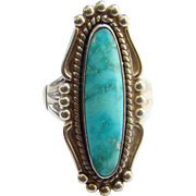 Vintage Bell Trading Post Navajo Turquoise Ring Blue Stone Size 7.75 Sterling Silver