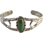 Vintage Bell Trading Post Green Turquoise Sterling Silver Cuff Bracelet Native American