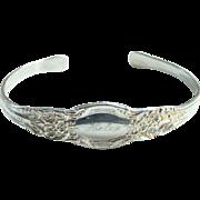 Vintage Lunt Sterling Silver Spoon Cuff Bracelet Monogrammed Helen I Love You Bud