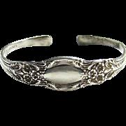 Vintage Lunt Sterling Silver Spoon Cuff Bracelet No Monogram Floral Design
