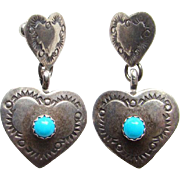Vintage Southwestern 925 Sterling Silver and Turquoise Heart Shape Pierced Earrings